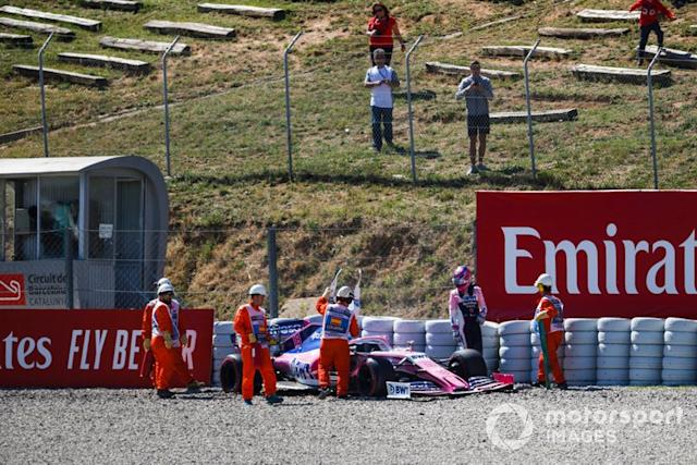 "El coche de Lance Stroll, Racing Point RP19, tras su accidente <span class=""copyright"">Zak Mauger / LAT Images</span>"