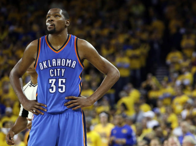 "<a class=""link rapid-noclick-resp"" href=""/nba/players/4244/"" data-ylk=""slk:Kevin Durant"">Kevin Durant</a> is pretty certain the Thunder will raise his No. 35 to the rafters one day. (AP)"