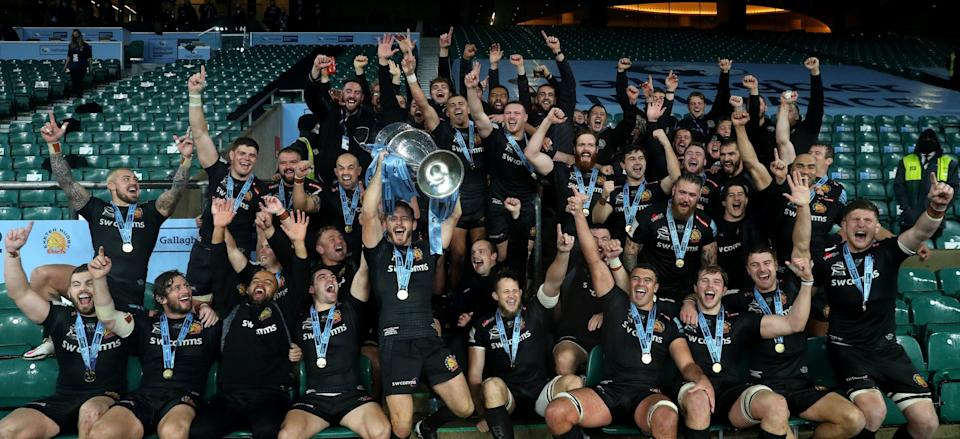 Exeter Chiefs celebrate their victory during the Gallagher Premiership Rugby final - GETTY IMAGES