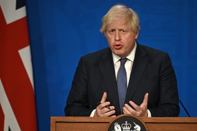 Prime Minister Boris Johnson during a media briefing in Downing Street (Daniel Leal-Olivas/PA)