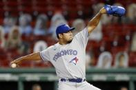 Toronto Blue Jays' Wilmer Font pitches during the fourth inning of a baseball game against the Boston Red Sox, Saturday, Aug. 8, 2020, in Boston. (AP Photo/Michael Dwyer)