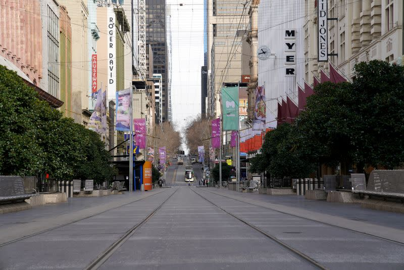 FILE PHOTO: Bourke Street mall is seen devoid of people after Melbourne re-entered lockdown to curb a resurgence of COVID-19