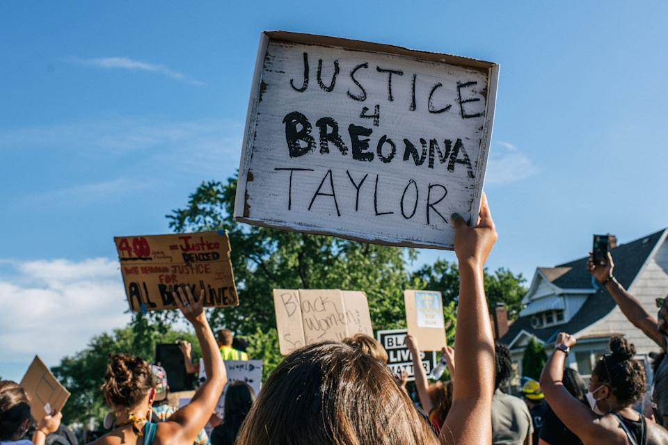 People march in the streets during a demonstration on June 26, 2020 in Minneapolis honoring Breonna Taylor, who was shot and killed by members of the Louisville Metro Police Department on March 13, 2020. (Photo: Brandon Bell via Getty Images)