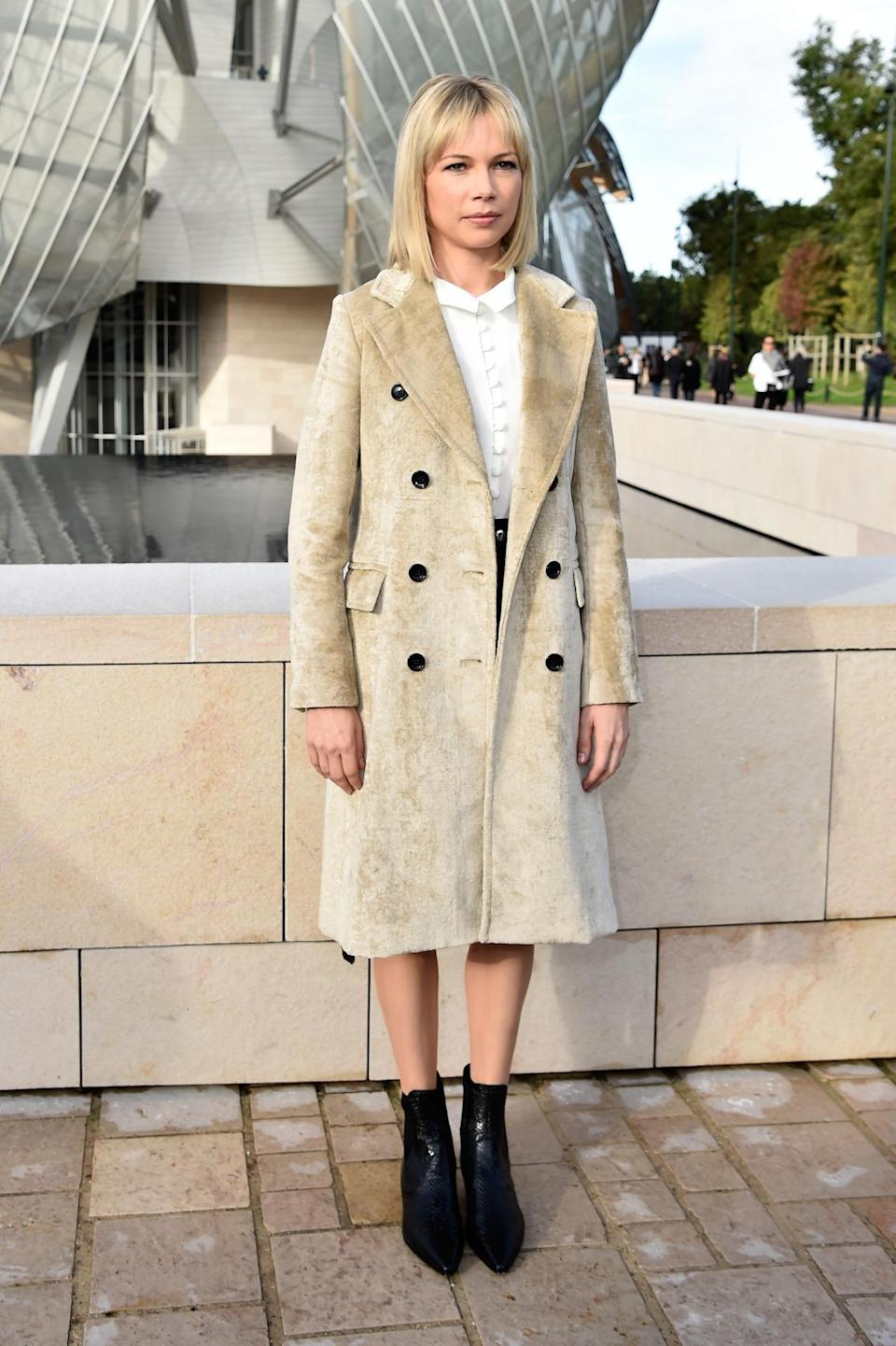 <p>Williams, who's also the face of Louis Vuitton's handbag line, wore a full look by the label to support her pal (and LV creative director) Nicolas Ghesquière at his Spring 2016 show in Paris. <i>Photo: Getty Images</i></p>
