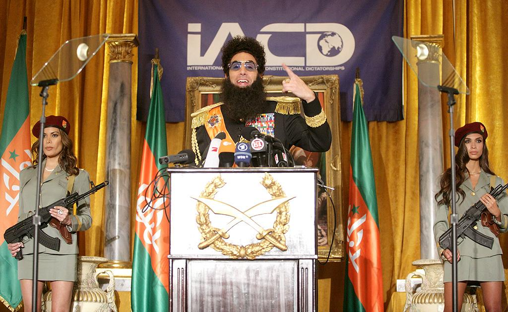 "<p class=""MsoNormal"">No one can ever say Sacha Baron Cohen doesn't immerse himself in a role! It seems every time we see the guy, he's donning the costume for his upcoming film ""The Dictator."" Cohen was at it again on Monday at a press conference for the flick, which he attended in character. The dictator revealed who he's backing in the U.S. presidential election. ""I support and I give my full support to Mitchell Romney. He has the makings of a great dictator,"" he announced. ""He is incredibly wealthy, but pays no taxes and it's not much of a leap to go from firing people to firing squads, and from putting pets on the top of a car to putting political dissidents on the top of them. He taught me how to do that."" (5/7/2012)</p>"