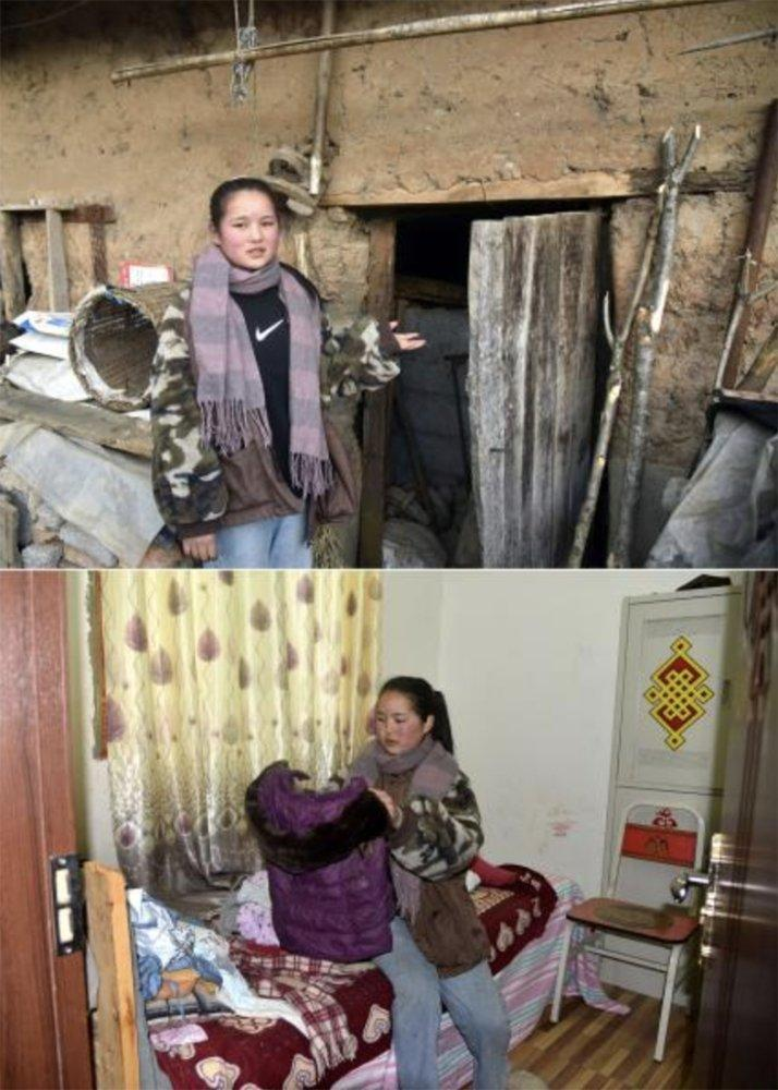(Top) Wuqi Labumu, eldest daughter of Bamu Yubumu, introduces an old house where she used to live; (bottom) Wuqi Labumu arranges her clothes in her new residence. Photo: Xinhua / Zhou Ke