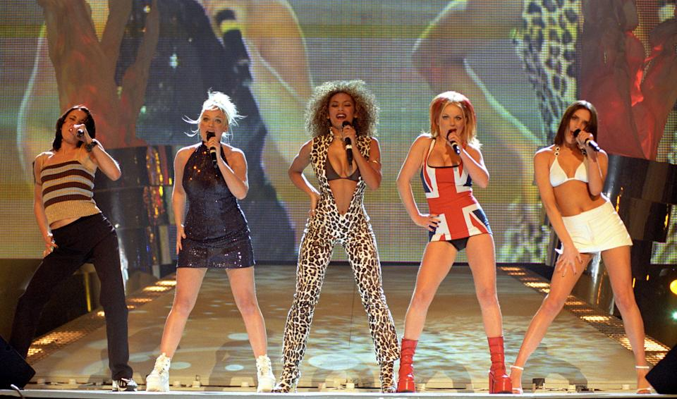 The Spice Girls on stage at the 1997 Brit Awards (Photo: Fiona Hanson - PA Images via Getty Images)