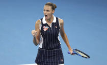 Karolina Pliskova of the Czech Republic reacts after winning a point during her final match against Madison Keys of the United States at the Brisbane International tennis tournament in Brisbane, Australia, Sunday, Jan. 12, 2020. (AP Photo/Tertius Pickard)