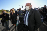 Lawyer Tranquillino Sarno, defender of Egyptian security forces official Mohammad Ibrahim Atar Kamel, arrives at the Rebibbia prison in Rome, Thursday, Oct. 14, 2021, to attend the first hearing of the trial for the death of Italian doctoral student Giulio Regeni, who disappeared for several days in January 2016 before his body was found on a desert highway north of the Egyptian capital. Italian prosecutors have formally put four high-ranking members of Egypt's security forces under investigation for their alleged roles in the slaying. (AP Photo/Andrew Medichini)