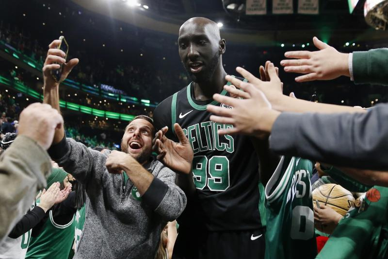 The people love Tacko. (AP Photo/Michael Dwyer)