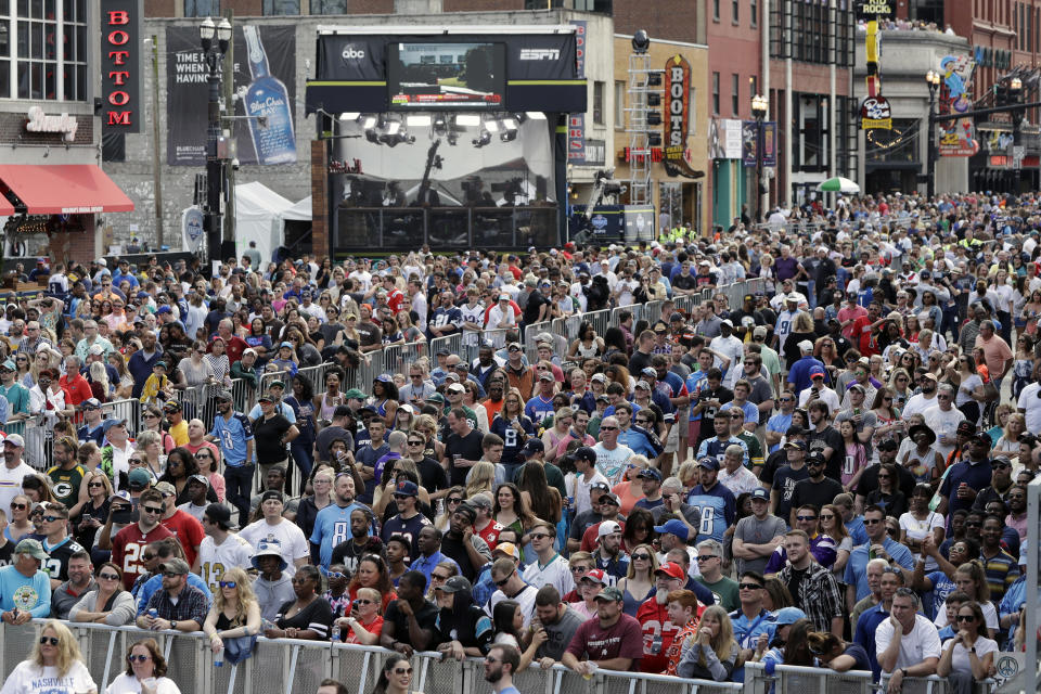 The 2019 NFL draft attracted an estimated 600,000 fans in Nashville, Tenn. (AP Photo/Mark Humphrey, File)