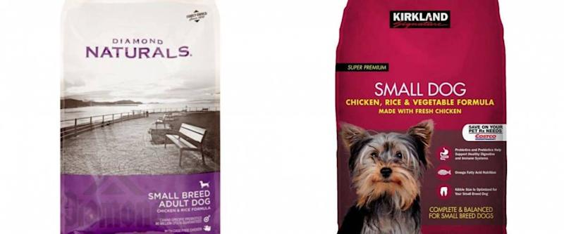 Diamond Naturals dog food and Kirkland Signature dog food