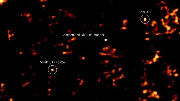 Swift J1745-26 with labels and scale of moon as it would appear in the field of view from Earth. This image is from September 18, 2012 when the source peaked in hard X-rays.