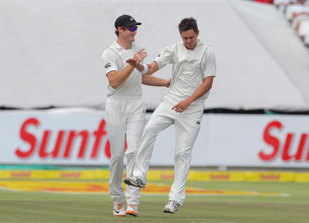 CAPE TOWN, SOUTH AFRICA - JANUARY 03: Trent Boult of the Black Caps celebrates the wicket of Alviro Petersen of the Proteas during day 2 of the 1st Test between South Africa and New Zealand at Sahara Park Newlands on January 03, 2013 in Cape Town, South Africa. (Photo by Carl Fourie/Gallo Images/Getty Images)