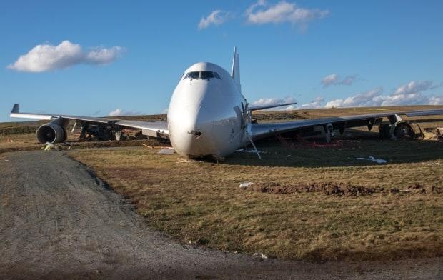 A Sky Lease Cargo jet went off the runway during a landing at the Halifax Stanfield International Airport on Nov. 7, 2018. (Robert Short/CBC - image credit)