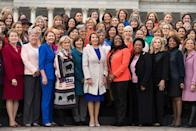 <p>Pelosi poses with the Democratic women members of the House in front of the Capitol. There are now a record number of women serving in Congress.</p>