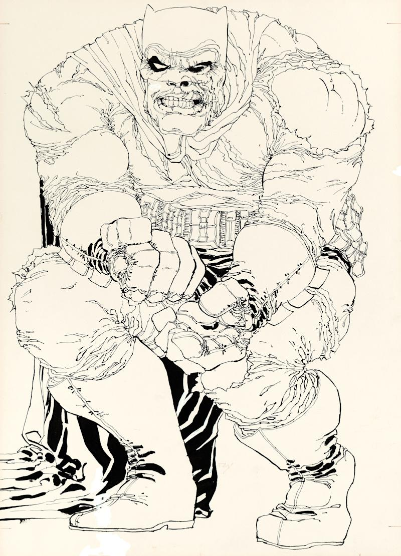 "This image provided by Heritage Auctions on July 2, 2013 shows the original art drawn by writer/artist Frank Miller for the cover to ""The Dark Knight Returns"" No. 2, which is planned to be sold at auction in August 2013. It's the first cover from DC Comics' 1986 four-issue ""Dark Knight"" miniseries to be sold and is expected to go for more than $500,000. (AP Photo/Heritage Auctions)"