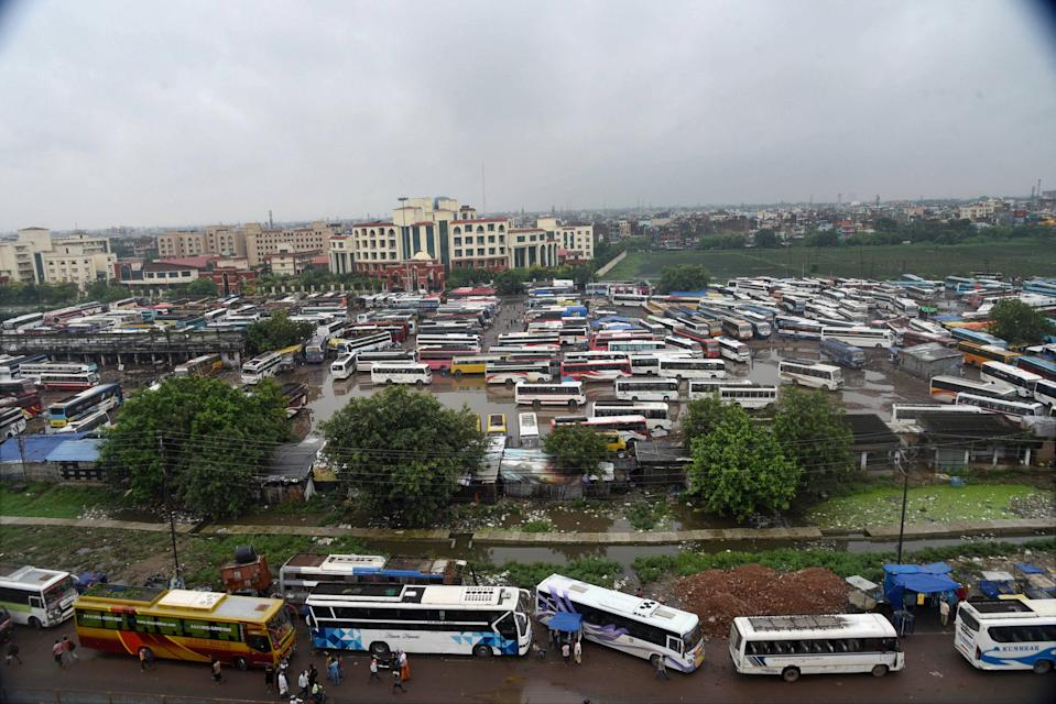 Buses parked at Mithapur stand during 'Bharat Bandh', a protest against the farm bills passed in Parliament recently, in Patna, Friday, Sept. 25, 2020. (PTI Photo)