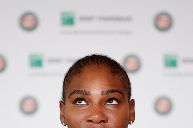 Tennis - French Open - Roland Garros, Paris, France - June 4, 2018 Serena Williams of the U.S during a press conference after withdrawing from the French Open REUTERS/Benoit Tessier TPX IMAGES OF THE DAY