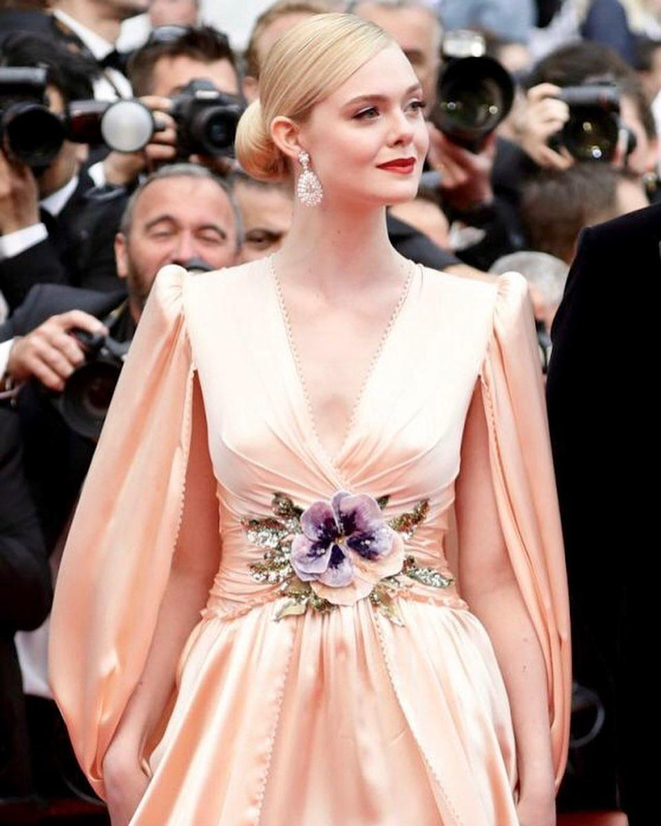 Elle Fanning dressed in Gucci for Cannes Film Festival 2019.