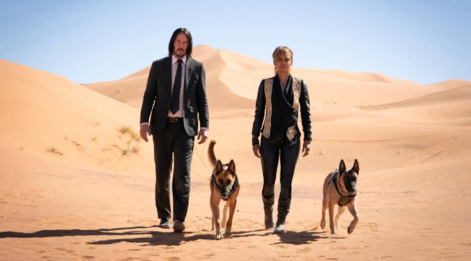 John Wick (Keanu Reeves), Sofia (Halle Berry) and her battle-ready Malinois find heaps of trouble in the new action film
