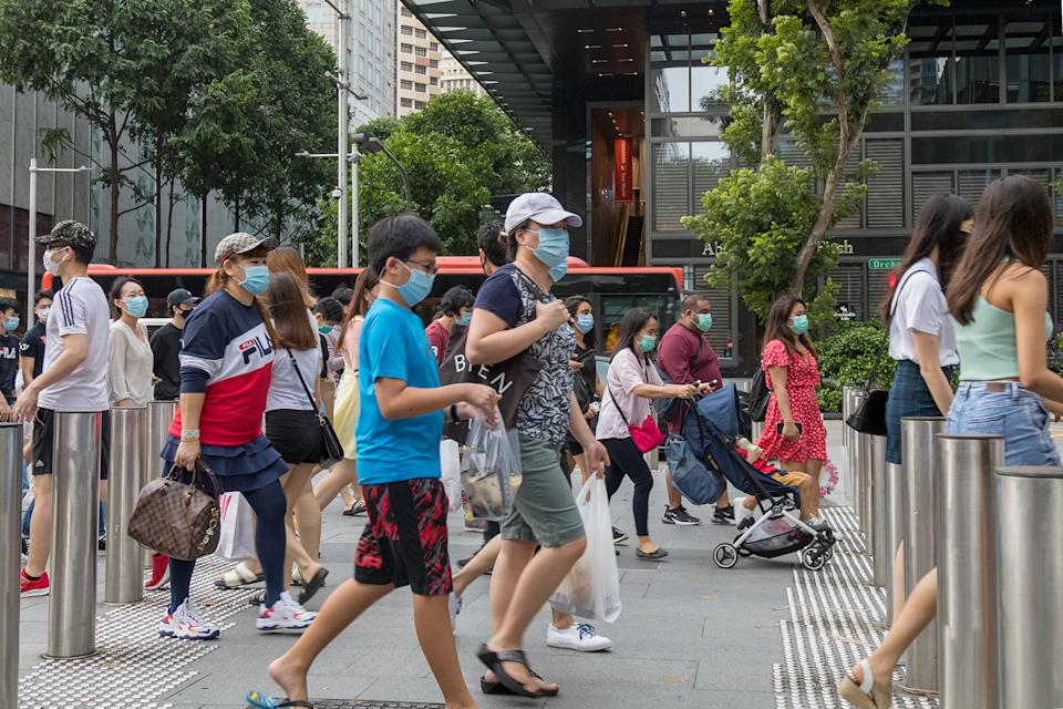 People seen along Orchard Road on 19 June 2020, the first day of Phase 2 of Singapore's re-opening. (PHOTO: Dhany Osman / Yahoo News Singapore)