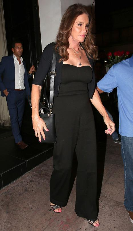 """<p>Caitlyn Jenner's docu-series """"I Am Cait"""" premiered on Sunday to huge numbers signaling a success, so it's only natural that she stepped out to celebrate. On Wednesday night, she was spotted at Eva Longoria's restaurant Beso in Hollywood, California. She dressed for the celebratory occasion, jumping on the jumpsuit trend in a black one piece. Strappy heels showed off her vibrant pedicure and she accessorized simply with three delicate chains.</p>"""