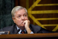 Sen. Lindsey Graham, R-S.C., listens during a Senate Judiciary Committee hearing on Capitol Hill in Washington, Tuesday, Nov. 10, 2020, on a probe of the FBI's Russia investigation. (AP Photo/Susan Walsh, Pool)
