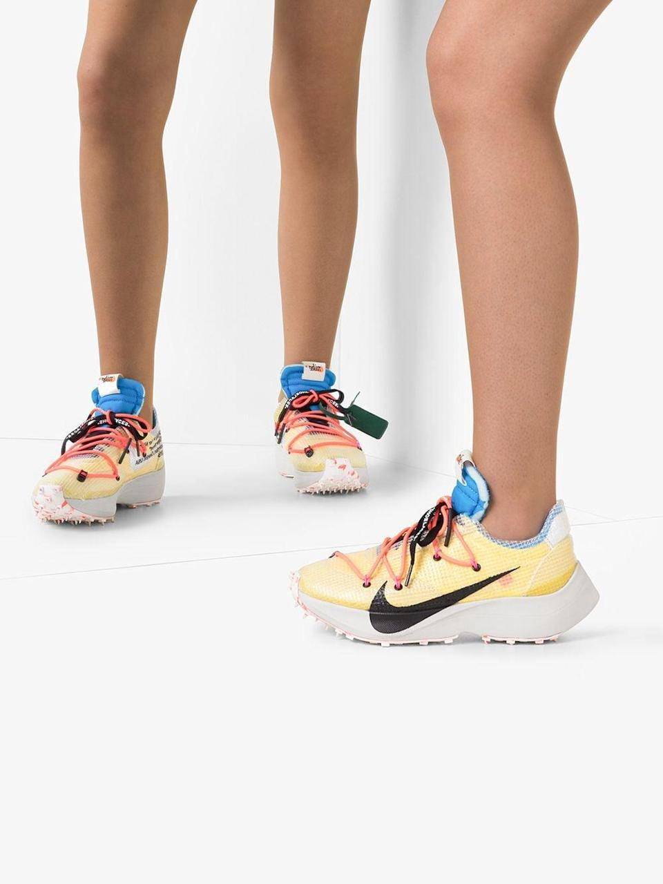<p>The RealReal confirms that Off-White x Nike sneakers are selling for up to 2,158 percent of retail value! We love the pale yellow colorway of the <span>Off-White x Nike Sneakers Vapor Street Sneakers</span> ($200) in particular.</p>
