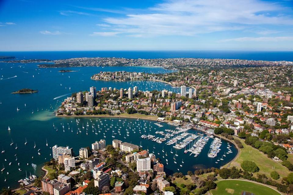 Aerial view of Rushcutters Bay, along the Bondi to Manly harbour walk