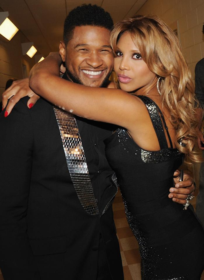 "Usher also got some love from songstress Toni Braxton, one of the ceremony's honorees. Rick Diamond/<a href=""http://www.gettyimages.com/"" target=""new"">GettyImages.com</a> - September 17, 2011"