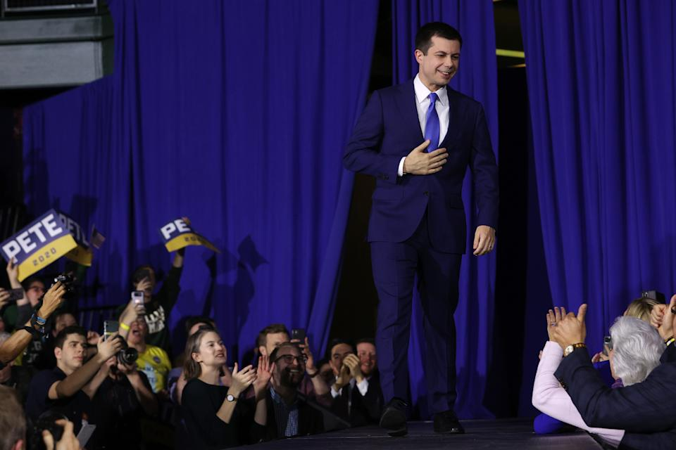Democratic presidential candidate former South Bend, Indiana Mayor Pete Buttigieg speaks at his primary night watch party on February 11, 2020 in Nashua, New Hampshire. (Win McNamee/Getty Images)