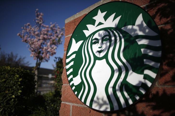 A Starbucks logo on a store in Los Angeles
