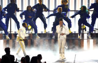 """Kirk Franklin, left, and Lil Baby perform """"We Win"""" at the BET Awards on Sunday, June 27, 2021, at the Microsoft Theater in Los Angeles. (AP Photo/Chris Pizzello)"""