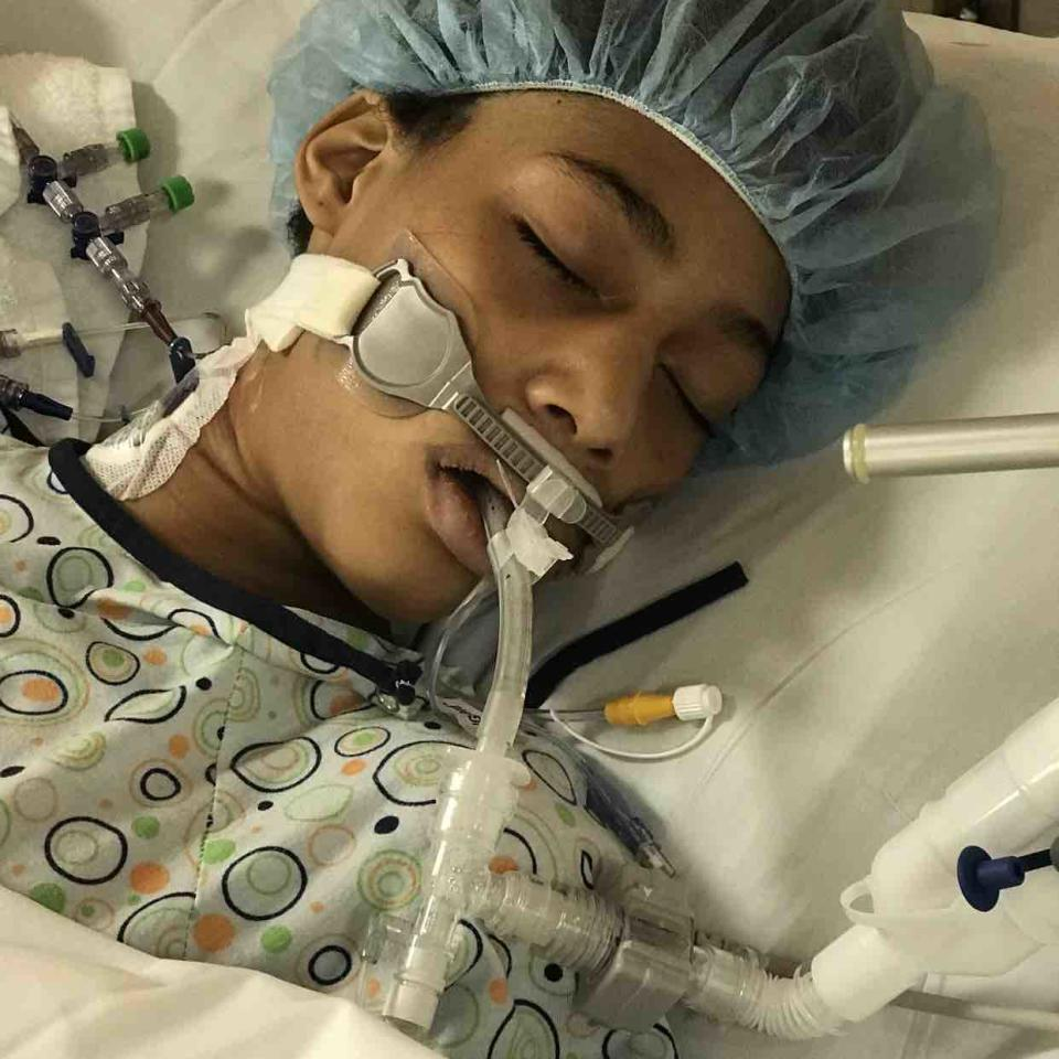 Honestie Hodges with a tube coming out of her mouth in a hospital bed. She has died of coronavirus, her family said.