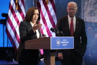 Vice President-elect Kamala Harris, accompanied by President-elect Joe Biden, speaks at The Queen theater, Thursday, Nov. 19, 2020, in Wilmington, Del. (AP Photo/Andrew Harnik)