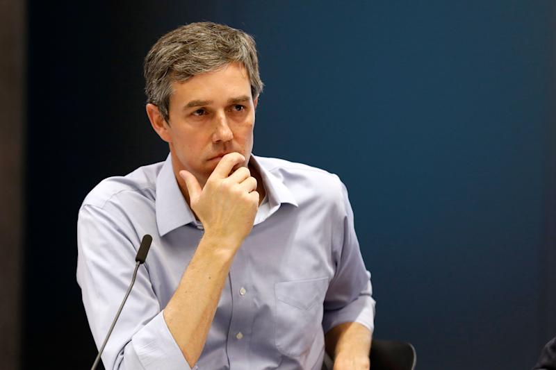 Democratic presidential candidate and former Texas Congressman Beto O'Rourke listens to a speaker during a roundtable discussion on climate change, Monday, May 6, 2019, in Des Moines, Iowa. (AP Photo/Charlie Neibergall)