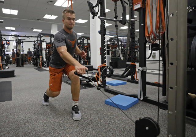 Texas Longhorns' Sam Ehlinger works out Wednesday Sept. 4, 2019 in Austin, Tx. ( Photo by Edward A. Ornelas )