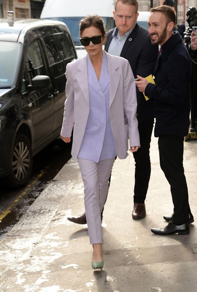 <p>Continuing her killer series of looks in Paris, the designer opted for a lilac suit with mint-hued shoes. <em>[Photo: Getty]</em> </p>
