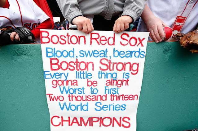 BOSTON, MA - APRIL 04: A fan holds up a sign prior to the Opening Day game between the Boston Red Sox and the Milwaukee Brewers at Fenway Park on April 4, 2014 in Boston, Massachusetts. (Photo by Jared Wickerham/Getty Images)