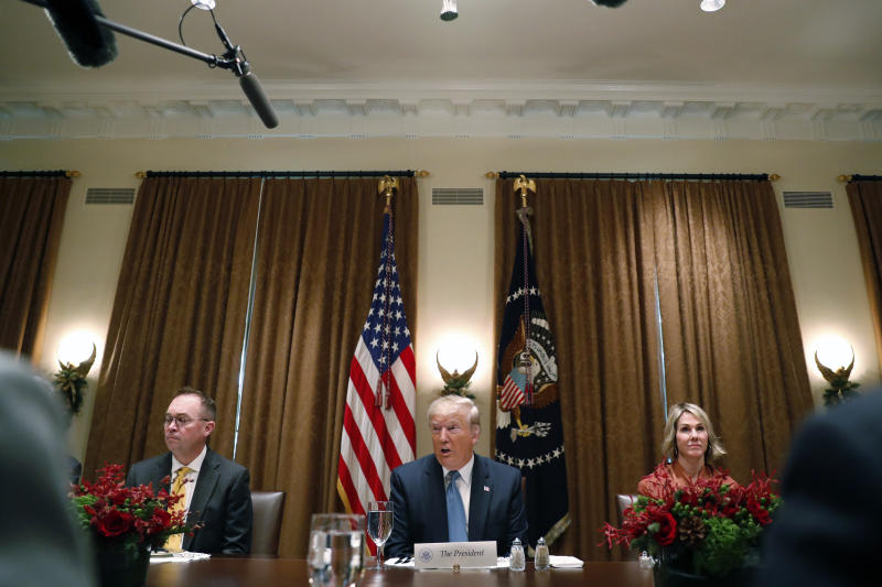 President Donald Trump speaks at a luncheon with members of the United Nations Security Council in the Cabinet Room at the White House in Washington, Thursday, Dec. 5, 2019. (AP Photo/Andrew Harnik)