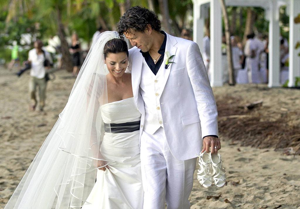 """Country superstar Shania Twain -- who recently married Frederic Thiebaud on the beach in Rincon, Puerto Rico -- looked beyond gorgeous on her big day in Lorraine Schwartz jewelry and an off-the-rack dress she found in a boutique near her home in Lausanne, Switzerland. Sandbox Entertainment/<a href=""""http://www.pacificcoastnews.com/"""" target=""""new"""">PacificCoastNews.com</a> - January 1, 2011"""