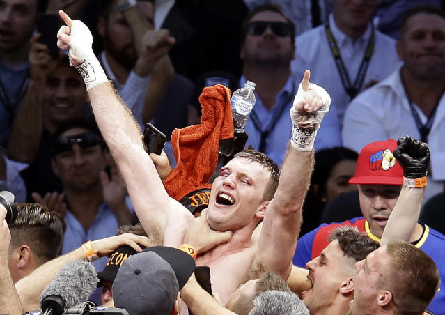 FILE - In this July 2, 2017, file photo, Jeff Horn, of Australia, celebrates after beating Manny Pacquiao, of the Philippines, in a WBO World Welterweight title fight in Brisbane, Australia. Horn and Terence Crawford, both unbeaten, meet Saturday night, June 9, 2018, in Las Vegas for Horn's welterweight title in a fight that offers an intriguing matchup of brawler versus boxer in a division that is suddenly getting a lot of attention in boxing.(AP Photo/Tertius Pickard, File)
