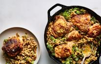 "Why use a bunch of pots and pans when fennel, orzo, and chicken can be cooked in one? <a href=""https://www.bonappetit.com/recipe/one-skillet-chicken-with-buttery-orzo?mbid=synd_yahoo_rss"" rel=""nofollow noopener"" target=""_blank"" data-ylk=""slk:See recipe."" class=""link rapid-noclick-resp"">See recipe.</a>"
