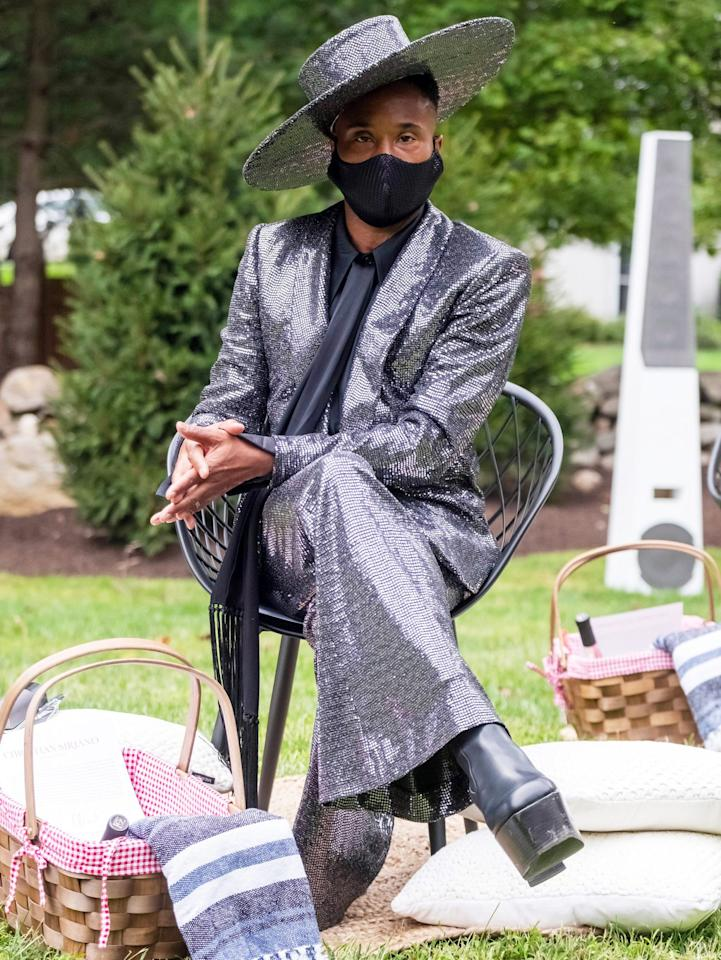 <p>Billy Porter looks stunning (of course) at the Christian Siriano fashion show, held at the designer's home in Westport, Connecticut on Thursday.</p>