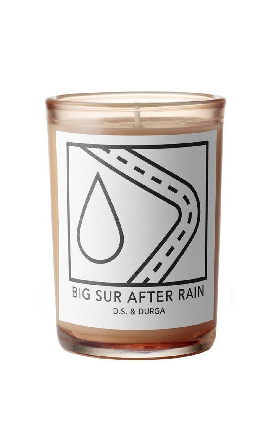 """<p>D.S. & Durga Big Sur After Rain</p><p>£60</p><p>Libertylondon.com</p><p><a class=""""link rapid-noclick-resp"""" href=""""https://go.redirectingat.com?id=127X1599956&url=https%3A%2F%2Fwww.libertylondon.com%2Fuk%2FBig-Sur-After-Rain-Candle-200g-R174981006.html%3FistCompanyId%3D53594fab-416e-42ab-b3ca-8816d2013fe8%26istFeedId%3D6894997c-21a2-4de5-ad8c-4f4c2b36367d%26istItemId%3Dirxlxxmrp%26istBid%3Dt%26gclid%3DCjwKCAjwmf_4BRABEiwAGhDfSahoHMFATdlj7PDPieuCjfCPuq4erh0Sq22NTafIocqz93UKyRsULRoCeccQAvD_BwE&sref=https%3A%2F%2Fwww.harpersbazaar.com%2Fuk%2Fbeauty%2Ffragrance%2Fg30698193%2Fbest-scented-candles%2F"""" rel=""""nofollow noopener"""" target=""""_blank"""" data-ylk=""""slk:SHOP NOW"""">SHOP NOW</a></p><p> Brooklyn-based D.S & Durga is one of the best-looking niche fragrance brands to invest in today. The scents are remarkable, too – Big Sur After Rain clears the air with a hit of herbal eucalyptus, underpinned by wet grass and dew-kissed plants.</p><p>Connecting the dots between sound and scent, the duo have created a <a href=""""https://dsanddurga.com/collections/music"""" rel=""""nofollow noopener"""" target=""""_blank"""" data-ylk=""""slk:playlist"""" class=""""link rapid-noclick-resp"""">playlist</a> to match the mood of each votive – head to the brand's website, and hit play as you ignite. </p>"""