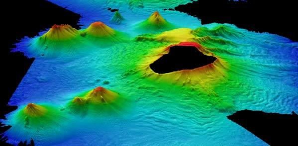 Newly discovered volcanoes surrounding Saunders Island in the arc. Photo: British Antarctic Survey