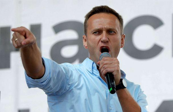 PHOTO: In this file photo taken on Saturday, July 20, 2019, Russian opposition activist Alexei Navalny gestures while speaking to a crowd during a political protest in Moscow. (Pavel Golovkin/AP, File)