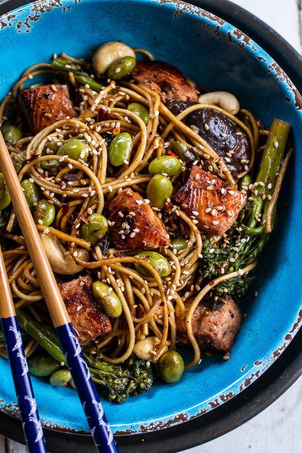 """<strong>Get the<a href=""""http://www.halfbakedharvest.com/sake-ginger-soba-noodle-salmon-stir-fry/"""" target=""""_blank""""> Sake and Ginger Soba Noodle Salmon Stir Fry recipe</a> from Half Baked Harvest</strong>"""