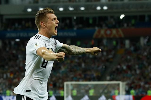 Toni Kroos celebrates after scoring Germany's late winner against Sweden in Sochi (AFP Photo/Odd ANDERSEN)